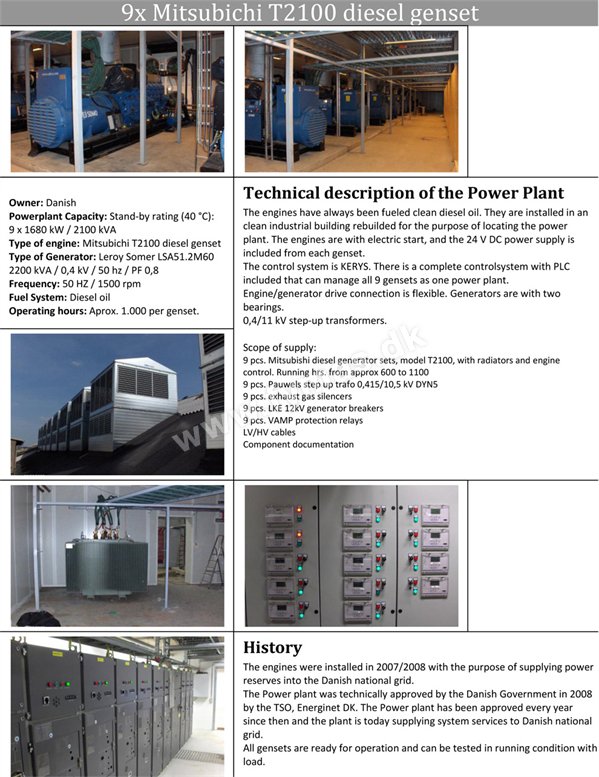 SDMO 9 units x 1680 kW / 2100 kVA  - Low hours! For sale as a package or can be split